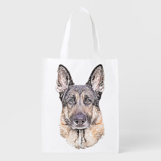 Portrait of a German Shepherd Dog Sketched Art Reusable Grocery Bag