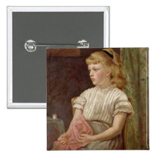 Portrait of a Girl, 1896 (oil on canvas) 15 Cm Square Badge