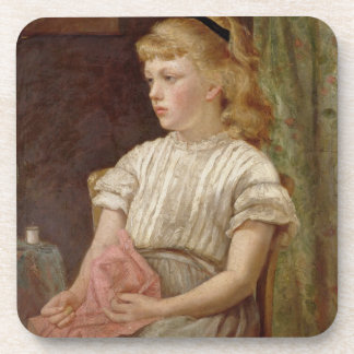 Portrait of a Girl, 1896 (oil on canvas) Beverage Coaster
