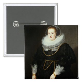 Portrait of a Girl, aged 18 15 Cm Square Badge