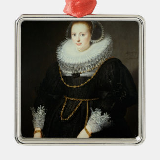 Portrait of a Girl, aged 18 Silver-Colored Square Decoration