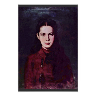 Portrait Of A Girl By Grigorescu Nicolae Poster