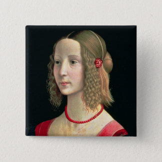 Portrait of a Girl, c.1490 15 Cm Square Badge