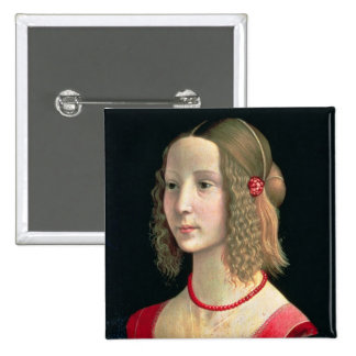Portrait of a Girl, c.1490 15 Cm Square Badge