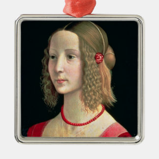 Portrait of a Girl, c.1490 Silver-Colored Square Decoration