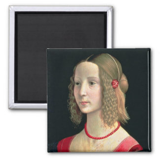 Portrait of a Girl, c.1490 Square Magnet