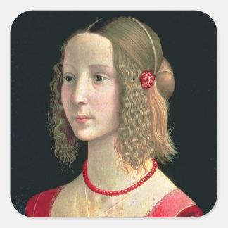 Portrait of a Girl, c.1490 Square Sticker