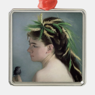 Portrait of a Girl holding a Sparrow Silver-Colored Square Decoration