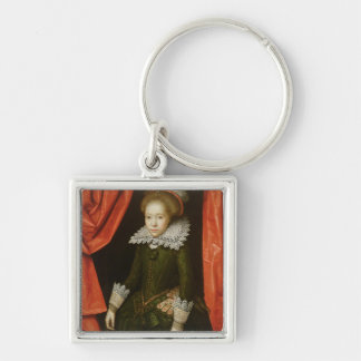 Portrait of a girl of the de Ligne family Silver-Colored Square Key Ring