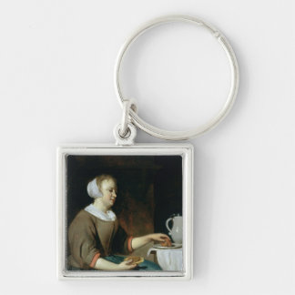 Portrait of a Girl Seated at a Table Silver-Colored Square Key Ring