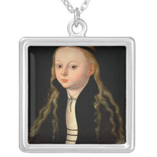 Portrait of a girl silver plated necklace