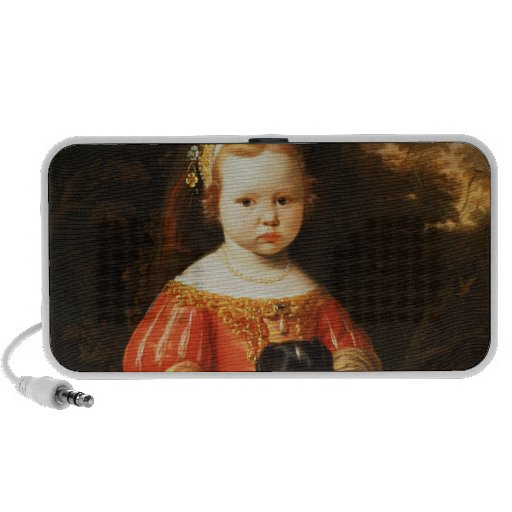 Portrait of a Girl with a Dog Portable Speaker