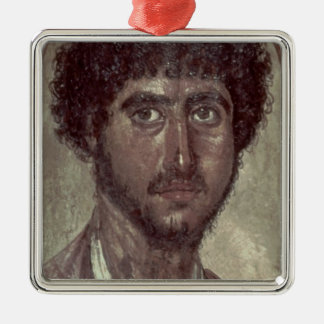 Portrait of a Greek, from Fayum, Romano-Egyptian, Silver-Colored Square Decoration