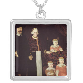 Portrait of a Hamburg Family, c.1640 Silver Plated Necklace