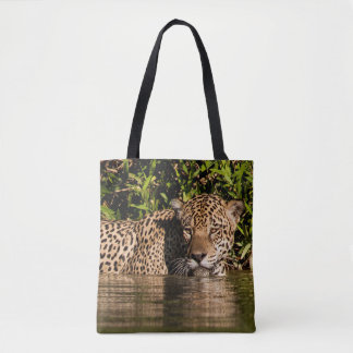 Portrait of a Jaguar Swimming Tote Bag