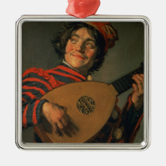 Portrait of a Jester with a Lute (oil on canvas) Christmas Ornament
