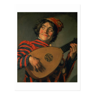 Portrait of a Jester with a Lute (oil on canvas) Postcard