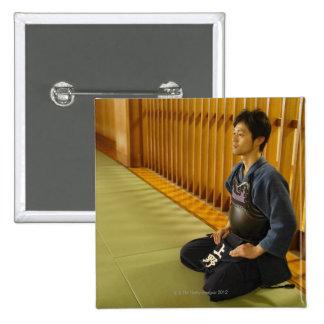Portrait of a Kendo Fencer 15 Cm Square Badge