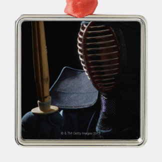 Portrait of a Kendo Fencer 6 Silver-Colored Square Decoration