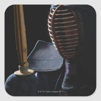 Portrait of a Kendo Fencer 6 Square Sticker
