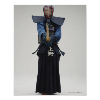 Portrait of a Kendo Fencer Poster
