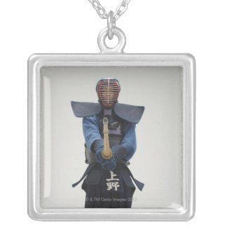 Portrait of a Kendo Fencer Silver Plated Necklace
