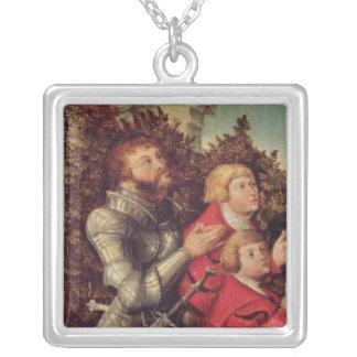 Portrait of a Knight with his two sons Silver Plated Necklace