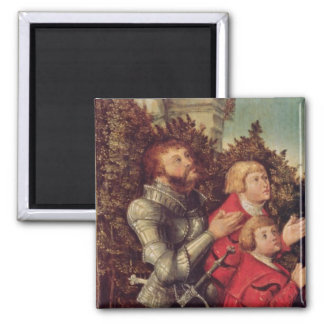 Portrait of a Knight with his two sons Square Magnet