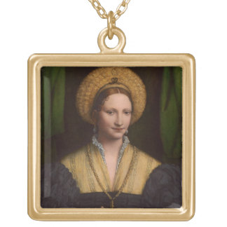 Portrait of a lady, 1520-1525 (oil on panel) gold plated necklace