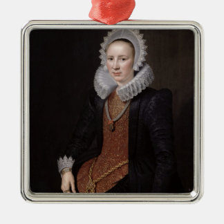 Portrait of a Lady aged 29, 1615 Silver-Colored Square Decoration