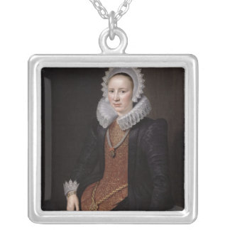 Portrait of a Lady aged 29, 1615 Silver Plated Necklace
