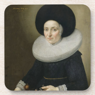 Portrait of a Lady, aged 47, 1647 (oil on canvas) Beverage Coasters