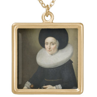 Portrait of a Lady, aged 47, 1647 (oil on canvas) Gold Plated Necklace
