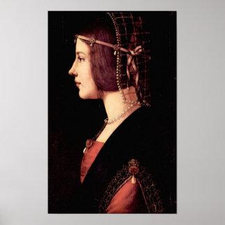Portrait of a Lady Beatrice d Este by Da Vinci Print