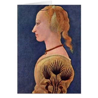 Portrait Of A Lady By Baldovinetti Alesso Greeting Card