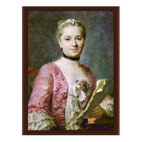 Portrait Of A Lady By Maurice Quentin De La Tour ( Postcard