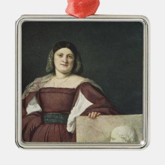 Portrait of a Lady , c.1510-12 Silver-Colored Square Decoration