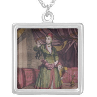 "Portrait of a lady from the ""Book of Designs"" Silver Plated Necklace"
