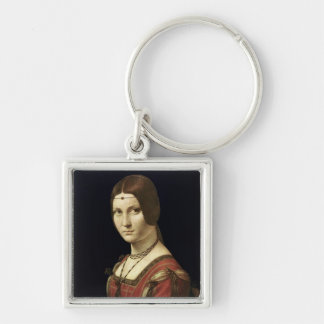 Portrait of a Lady from the Court of Milan Silver-Colored Square Key Ring