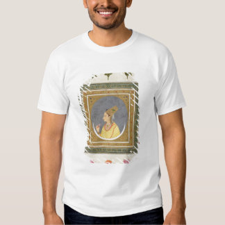 Portrait of a lady holding a lotus petal, from the shirt