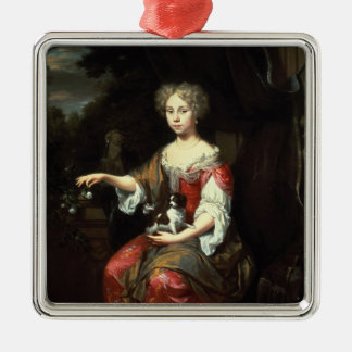 Portrait of a Lady holding her pet Christmas Ornament