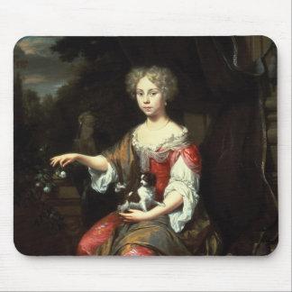 Portrait of a Lady holding her pet Mouse Mat