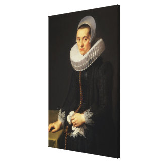Portrait of a Lady in a Black Dress Canvas Print