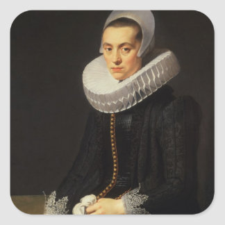 Portrait of a Lady in a Black Dress Square Sticker