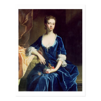 Portrait of a Lady in a Blue Velvet Dress (oil on Postcard