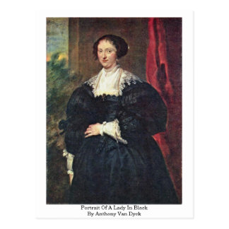 Portrait Of A Lady In Black By Anthony Van Dyck Postcard
