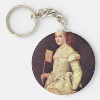 Portrait Of A Lady In White By Tizian Keychain