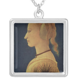 Portrait of a Lady in Yellow, c.1465 Square Pendant Necklace