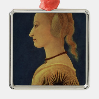 Portrait of a Lady in Yellow, c.1465 Silver-Colored Square Decoration