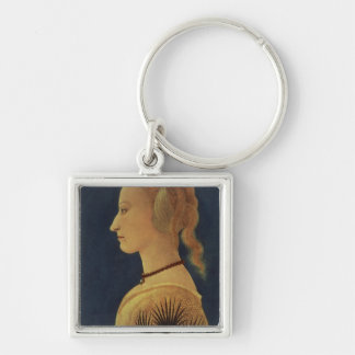 Portrait of a Lady in Yellow, c.1465 Silver-Colored Square Key Ring